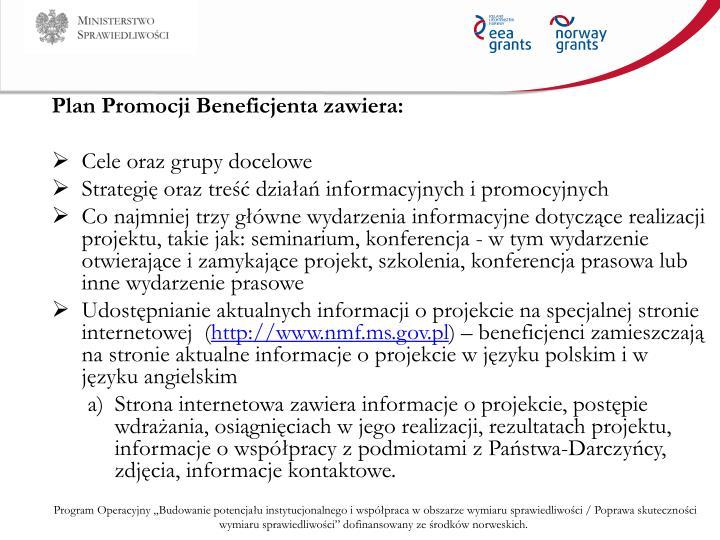 Plan Promocji Beneficjenta zawiera: