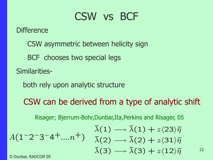 CSW  vs  BCF