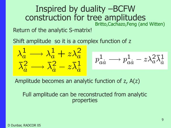 Inspired by duality –BCFW construction for tree amplitudes