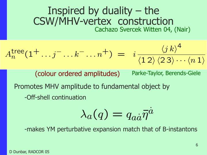 Inspired by duality – the CSW/MHV-vertex  construction