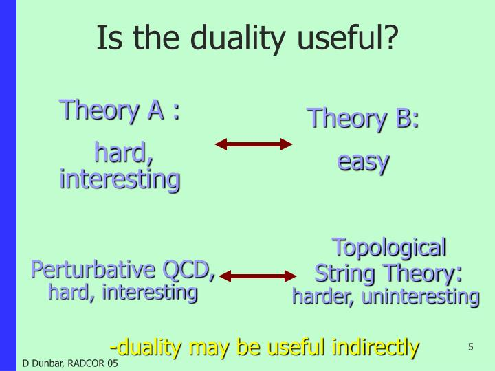 Is the duality useful?