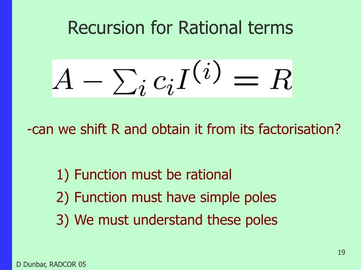 Recursion for Rational terms