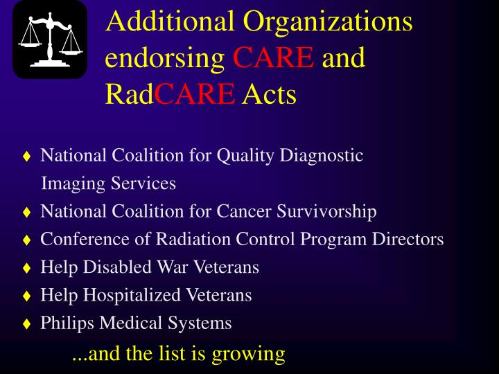 Additional Organizations endorsing