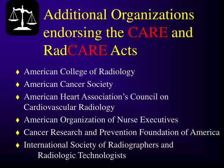 Additional Organizations endorsing the