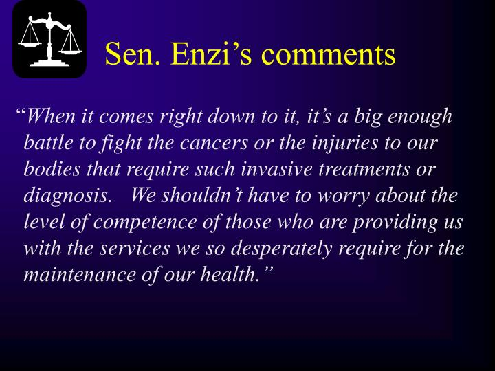 Sen. Enzi's comments