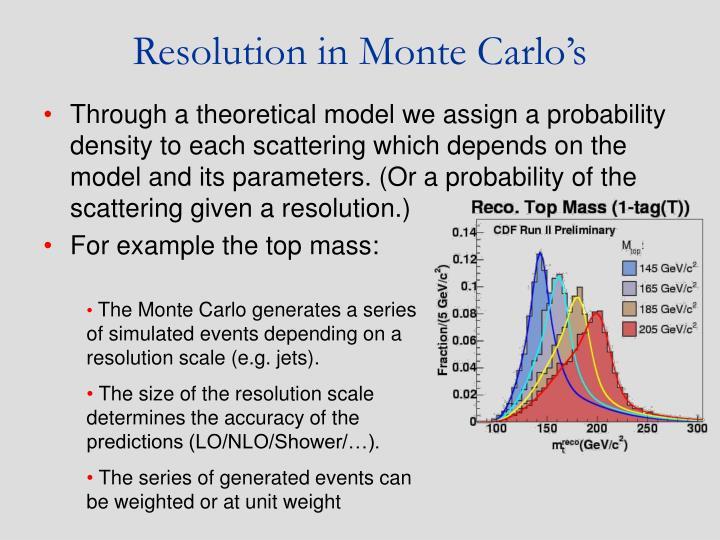 Resolution in Monte Carlo's