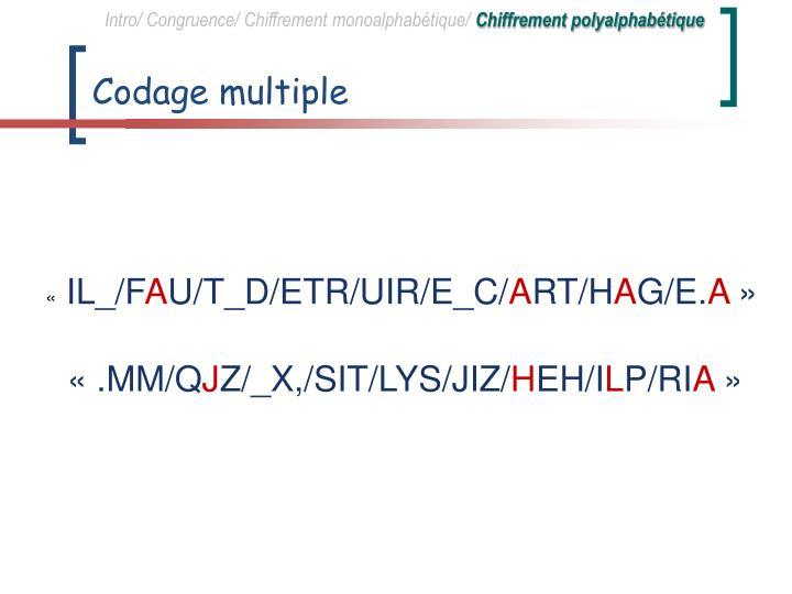 Intro/ Congruence/ Chiffrement monoalphabétique/