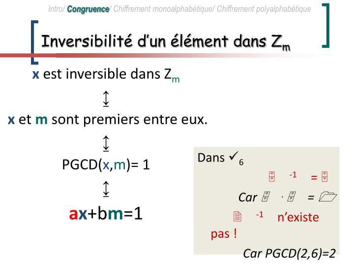 Inversibilité d'un élément dans Z