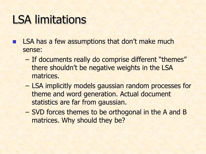 LSA limitations