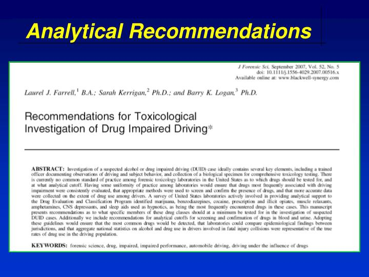 Analytical Recommendations
