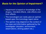 basis for the opinion of impairment