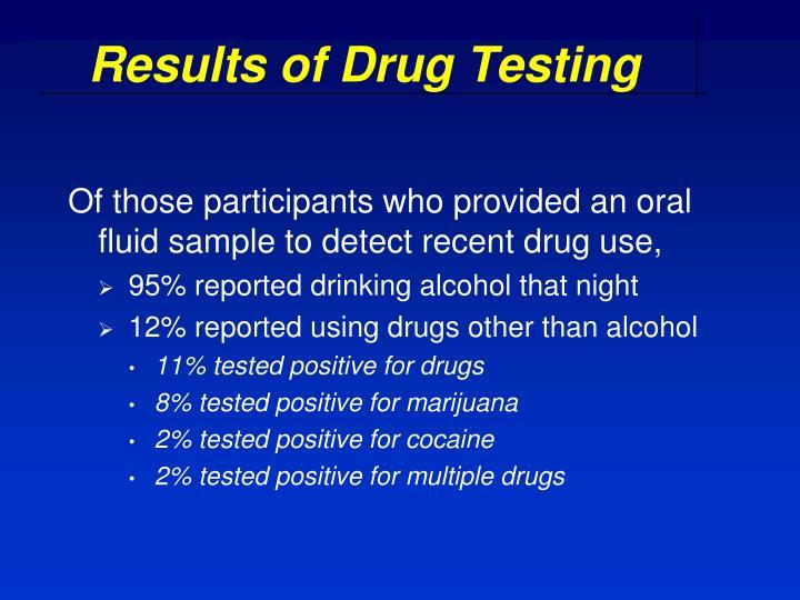 Results of Drug Testing