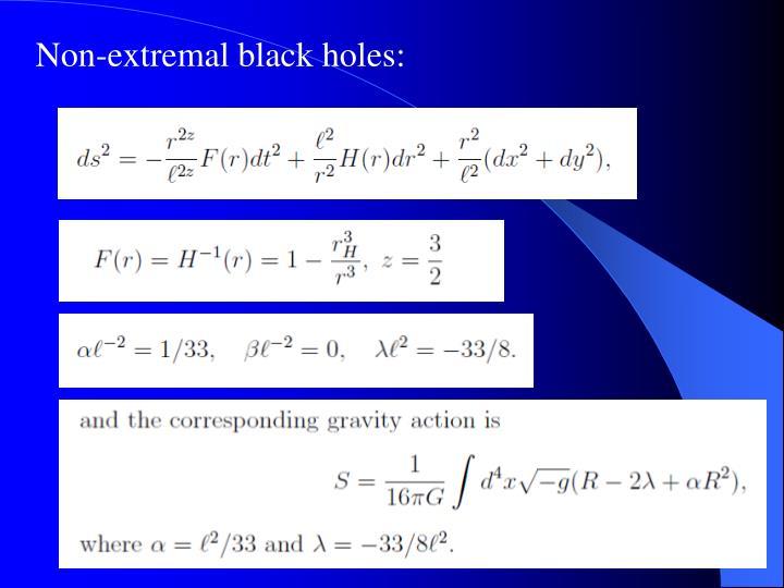 Non-extremal black holes: