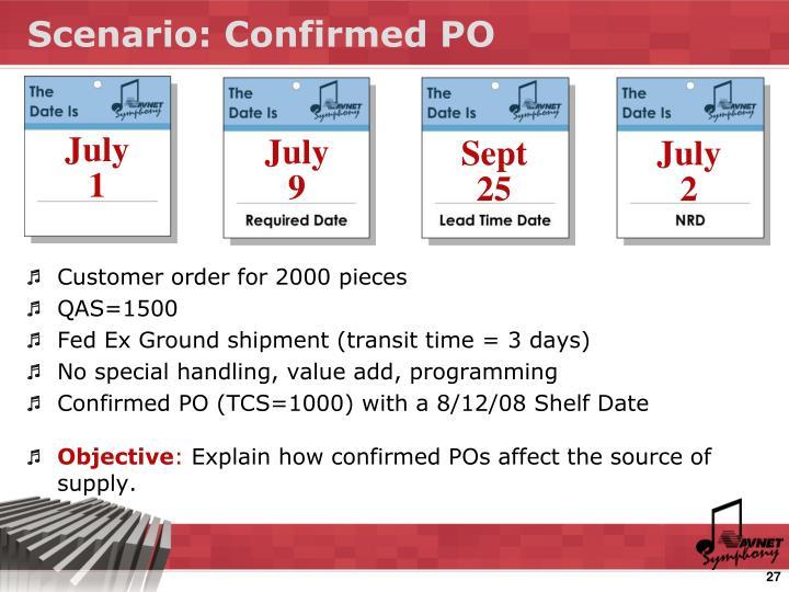 Scenario: Confirmed PO