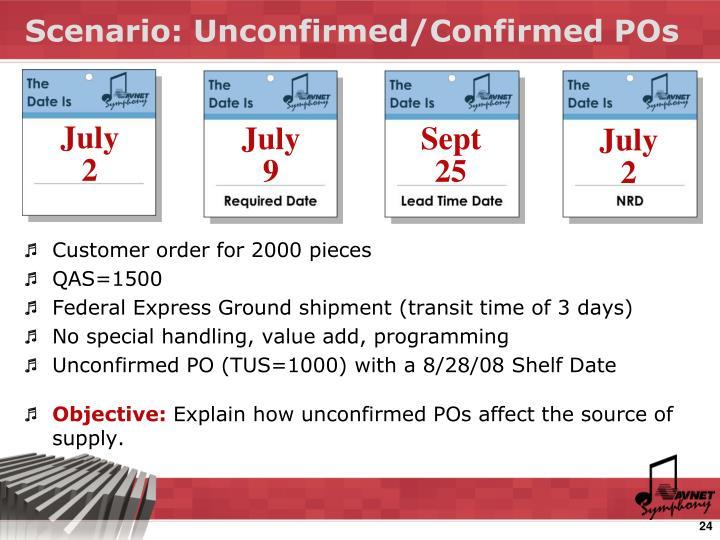 Scenario: Unconfirmed/Confirmed POs