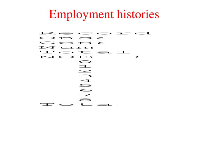 Employment histories