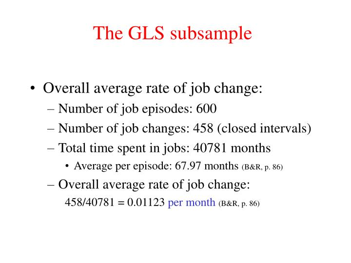 The GLS subsample