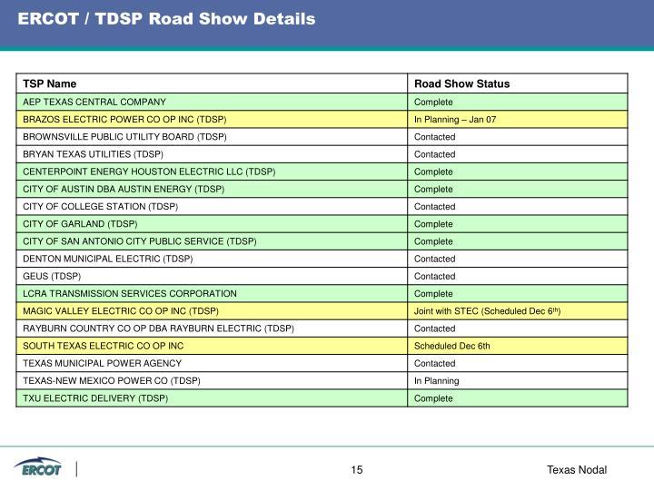 ERCOT / TDSP Road Show Details