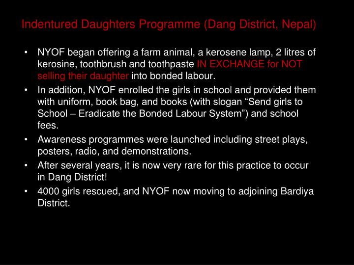 Indentured Daughters Programme (Dang District, Nepal)
