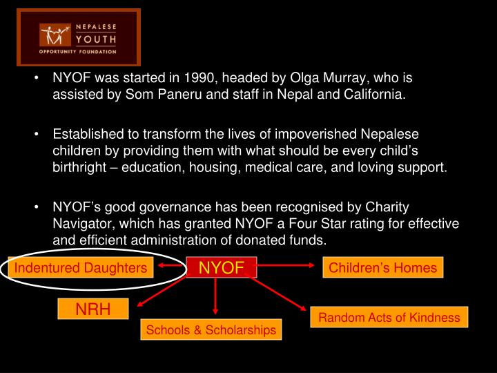 NYOF was started in 1990, headed by Olga Murray, who is assisted by Som Paneru and staff in Nepal an...