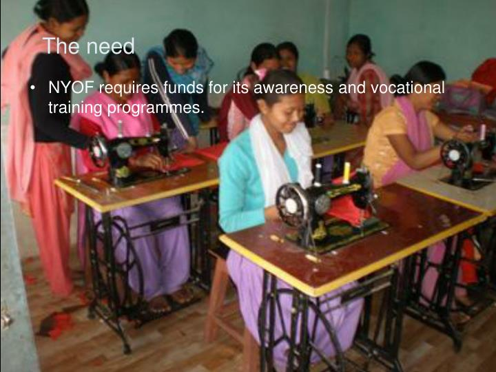 NYOF requires funds for its awareness and vocational training programmes.