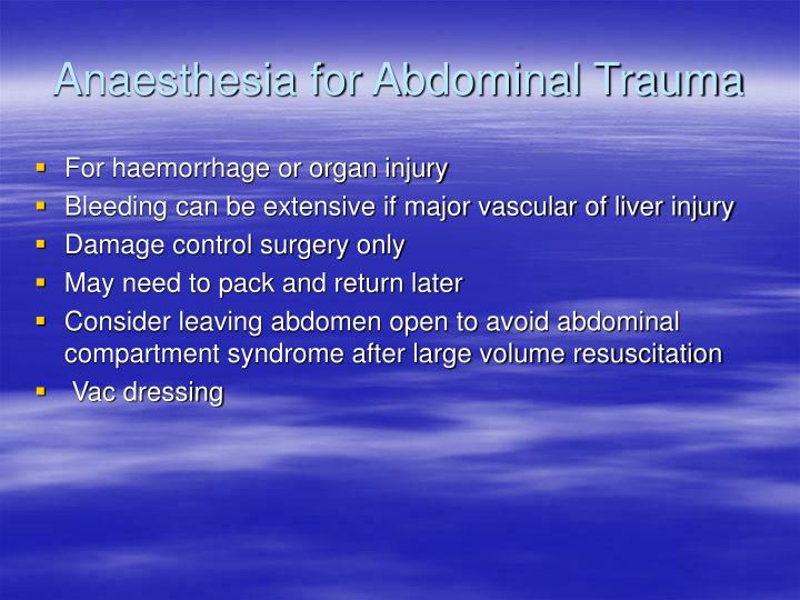 Anaesthesia for Abdominal Trauma