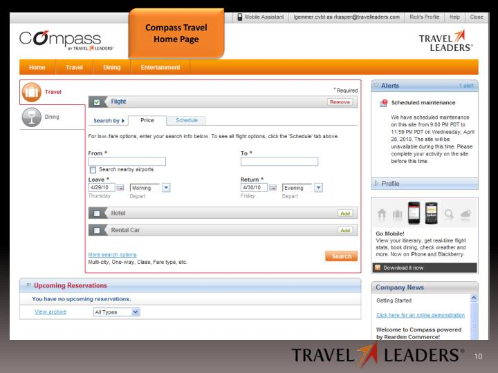 Compass Travel Home Page