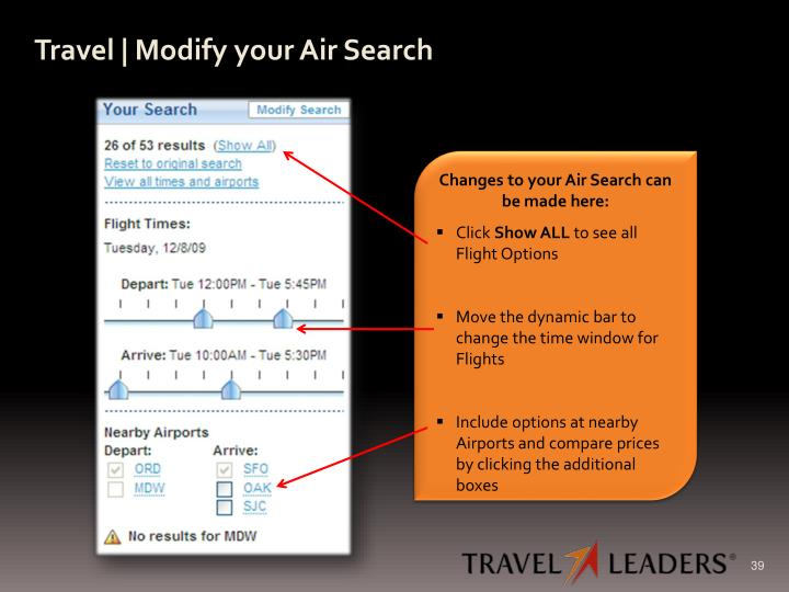 Travel | Modify your Air Search