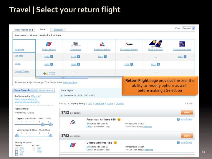 Travel | Select your return flight
