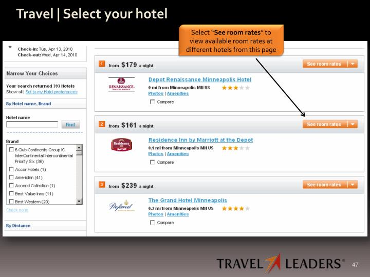 Travel | Select your hotel