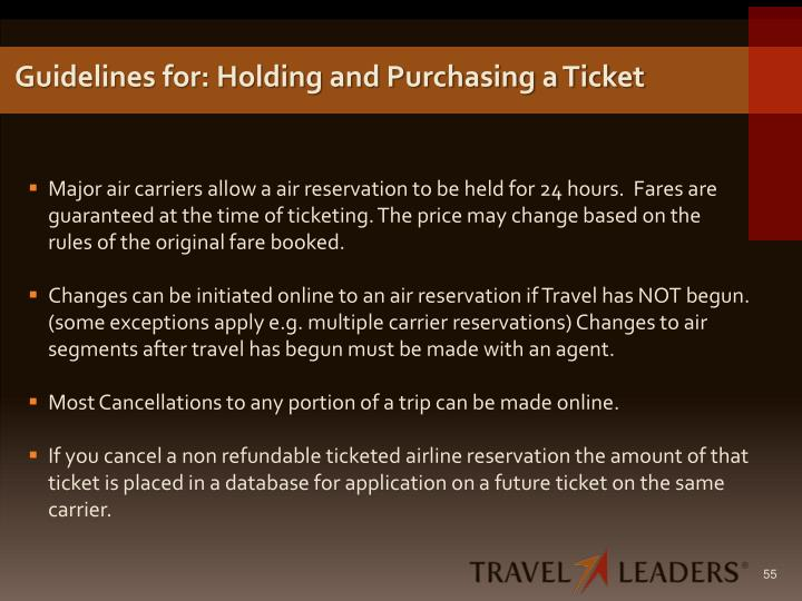 Guidelines for: Holding and Purchasing a Ticket