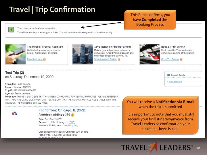 Travel | Trip Confirmation