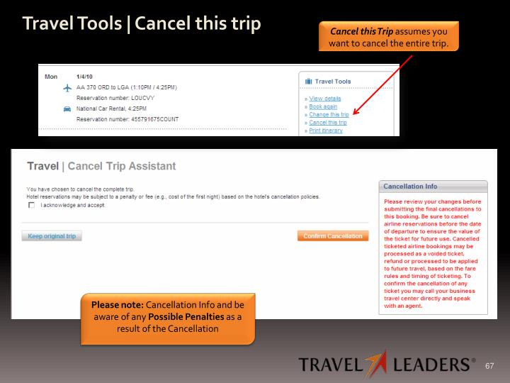 Travel Tools | Cancel this trip