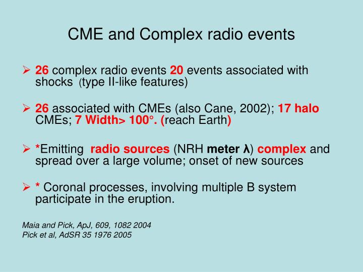 CME and Complex radio events
