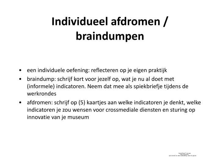 Individueel afdromen / braindumpen