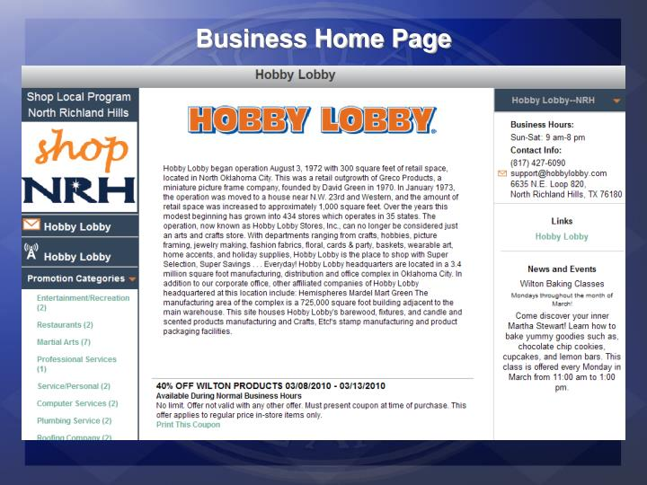 Business Home Page