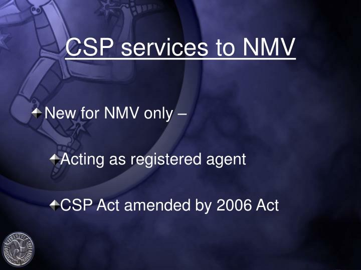 CSP services to NMV
