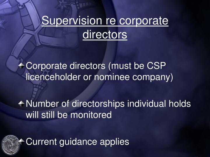 Supervision re corporate directors