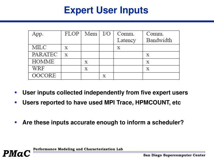 Expert User Inputs