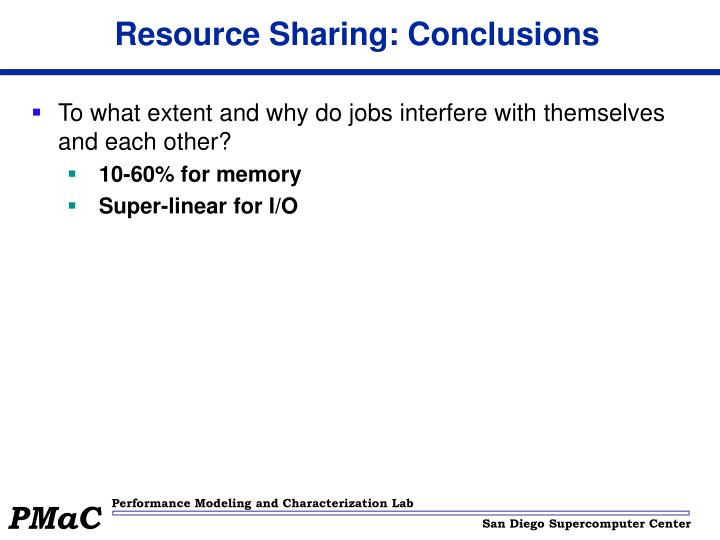 Resource Sharing: Conclusions