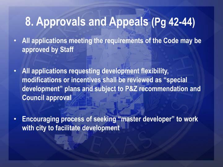 8. Approvals and Appeals