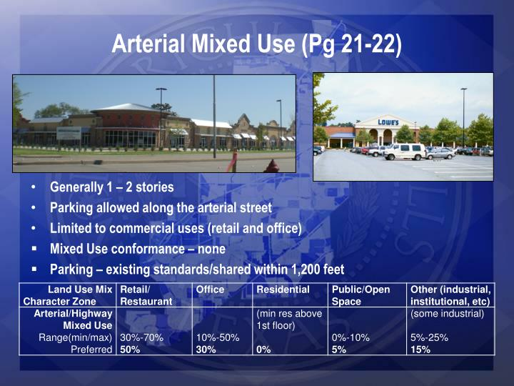 Arterial Mixed Use (Pg 21-22)
