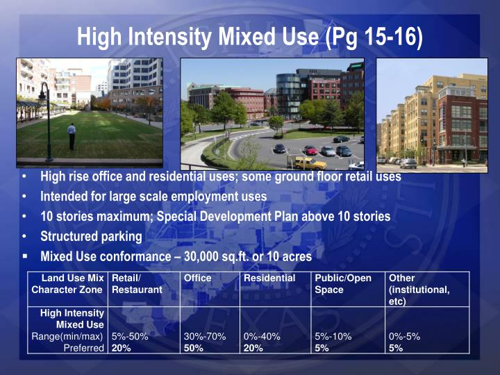 High Intensity Mixed Use (Pg 15-16)