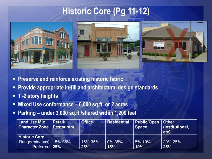 Historic Core (Pg 11-12)