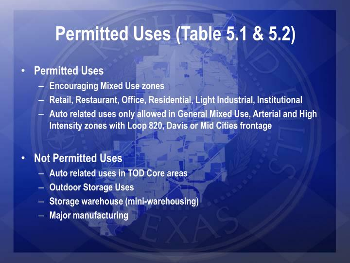 Permitted Uses (Table 5.1 & 5.2)