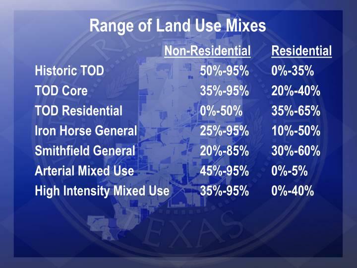 Range of Land Use Mixes