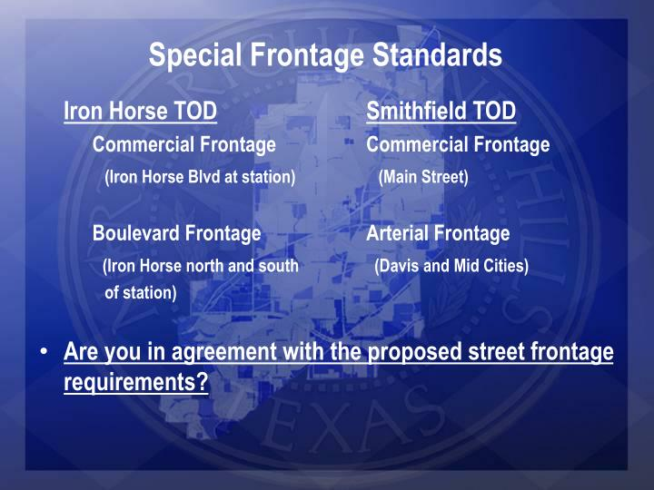 Special Frontage Standards