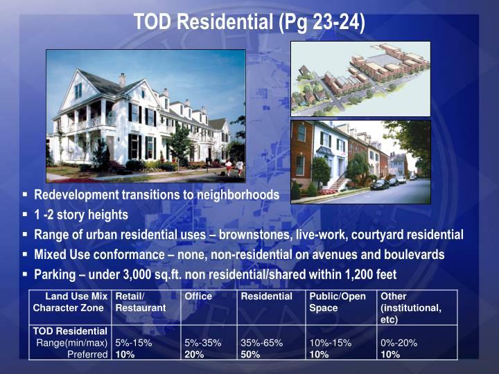 TOD Residential (Pg 23-24)