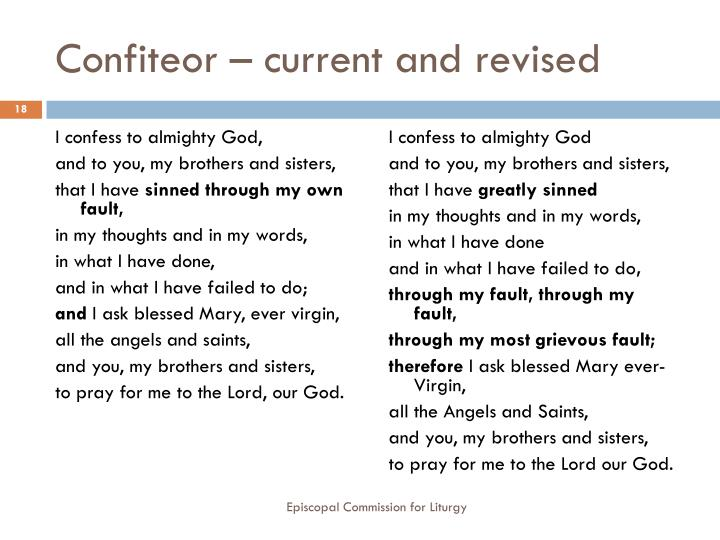 Confiteor – current and revised