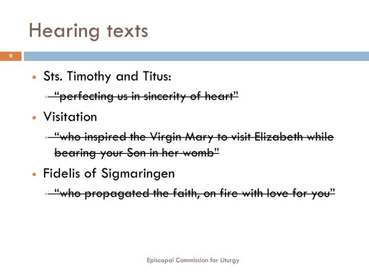 Hearing texts